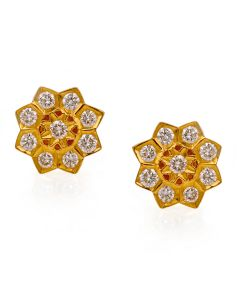 158G204 | Geometric Patterned Diamond Studs Earring