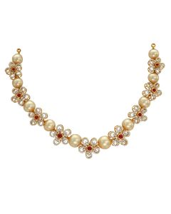 159VG1691 | Pearl And Flower Diamond Necklace