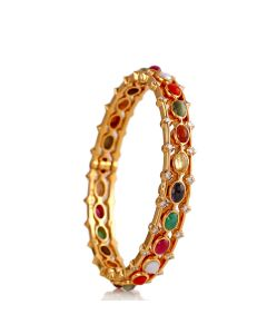 176VG654 | Anitique Navratna Diamond Bangle