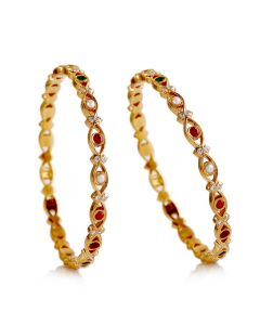 176VG676 | Stylish Navratna Diamond Bangles