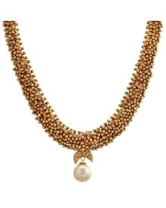 203VG290 | Bead Clustered Pearl Drop Gold Necklace