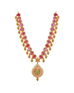 110VG2594 | Raindrop Beaded Ruby Precious Stone Gold Necklace
