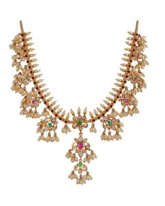 110VG2612   Flower Cluster Precious Stone Gold Necklace