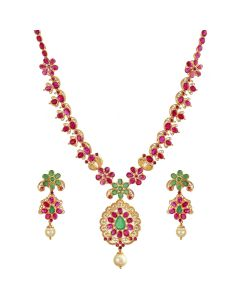 110VG2238 | Floral Emerald Ruby Gold Necklace Set