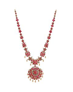111VG1437   Charming Ruby and Pearls Precious Gold Necklace