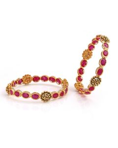 112VG621 | Swirl Cluster Precious Ruby Gold Bangles