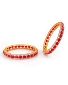 112VG753 | Oblong Ruby Precious Stone Gold Bangles
