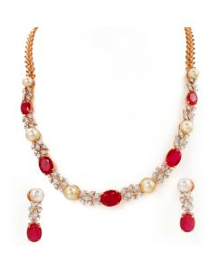 159VG2027 | Ruby and Pearls Diamond Necklace Set