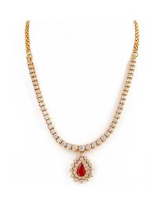 162VG49 | Classic No-fuss Ruby Diamond Necklace