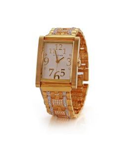 66VG78 | Rectangular CZ Dial Gold Men's Watch