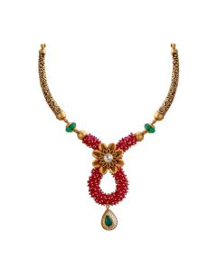123VG3014 | Regal Beaded Antique Gold Necklace