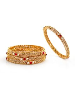 125G203 | Traditional Ruby Gold Bangles