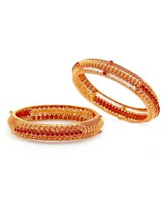 125VG362 | Round Ruby Antique Gold Bangles