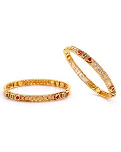 125VG506 | Ruby and Emerald Fab Antique Gold Bangles