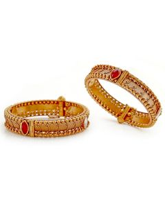 125VG521 | Antique Ruby Gold Bangle