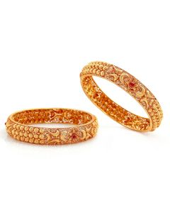 125VG579 | Floral Traditional Antique Gold Bangle