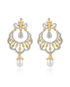 JEF14451H | Nayab Moti Diamond Chandbali Earring