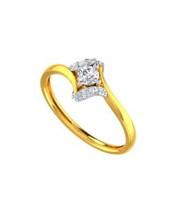 VR-137   22k Graceful Solitaire Gold Ring