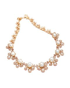 159VG2039 | Pearl & Diamond Cradle Necklace