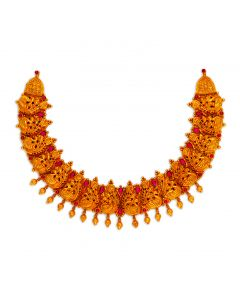 vbj-a-109a | Antique Hansika Gold Necklace with Ruby Highlights