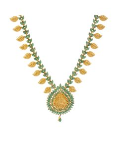 111VG2081 | Emerald Paisley Motif Necklace