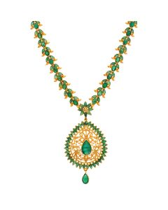 111VG2084 | Emerald Floral Gold Necklace