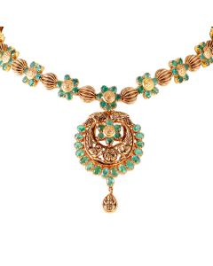 110VG3286 | Twisted Emerald Orbs Gold Necklace
