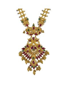 110MP3412 | Plush Ruby Emerald Gold Necklace