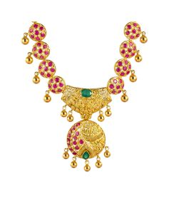 110VG3634 | Ruby Decked Orbs Gold Necklace