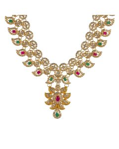 110VG3639 | Layered Ruby Emerald Gold Necklace