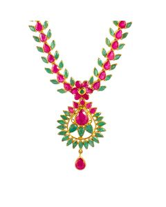 110VG3644 | Ruby Emerald Twilight Gold Necklace