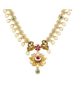 111VG2226 | Glassy Gemstone Gold Necklace