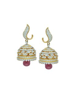 155G2194 | Ruby Drop Signity Gold Jhumka Earrings