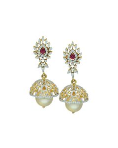 155VH165 | Pearl Drop Gold Studded Jhumka Earrings