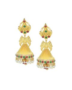 74VI5186 | 22K Gold Unique Chandelier Jhumka Earrings