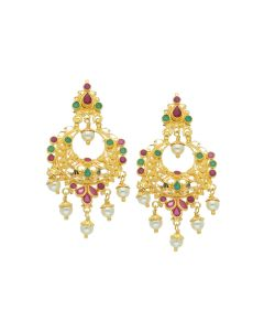 74VI5221 | 22K Gold Versatile Chandbali Hanging Earrings
