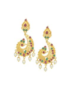 74VI5232 | 22K Gold Peacock Hanging Earrings