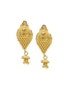 78VO6108 | 22K Gold Beehive Hanging Earrings