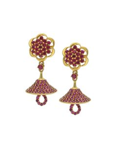 82VH7055 | 22K umbrella Cut Gold Jhumka Earrings