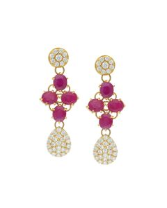 76VG2119 | 22K Precious Gold Ruby Ensemble Drop Earrings