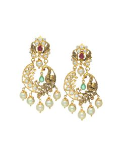 76VG3174 | 22K Gold Pearl Cradle Peacock Chandbali Earrings
