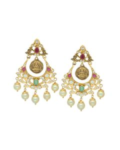 76VG3175 | Gold Gemstone Trivet Chandbali Earrings
