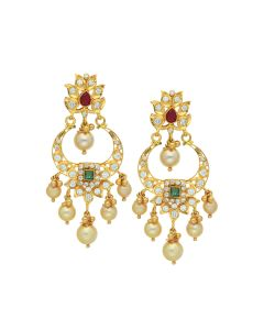 76VG3180 | 22K Gold Pearl Gungroo Chandbali Earrings