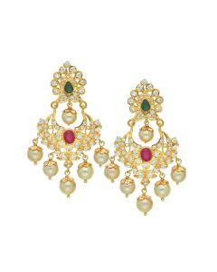 76VG3182 | 22K Gold Stone Studded Earrings