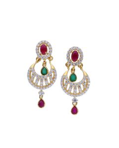 82VH7075 | Precious Gemstone Blended Chandbali Earrings