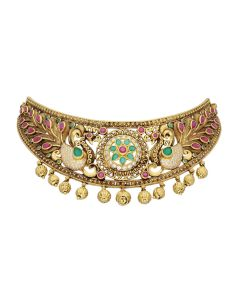 123VG4490 | Antique Gold Nagashi Peacock Choker