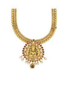 124VG856 | Gaja Lakshmi Adorned Antique Gold Haram