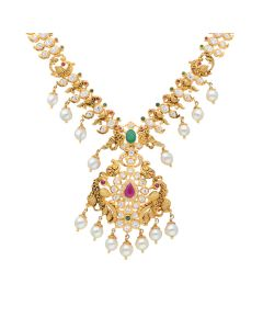 110VG3314   Peacock Outlined CZ Pachi Necklace