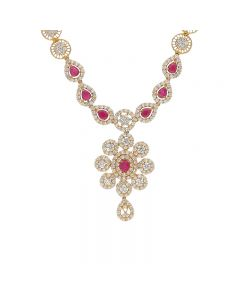 110VG4268 | 22 KT Precious Ruby CZ Swarvoski? Gold Necklace 110VG4268