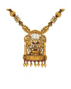 556VA98 | 22 KT Antique Gold Nakkashi Temple Necklace 556VA98